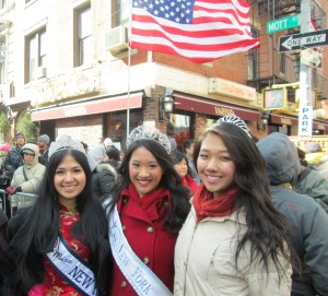 Three beauties at parade in Chinatown