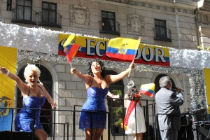 Ecuadorians working the crowd