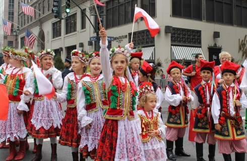 Polish Children Proudly waving flag