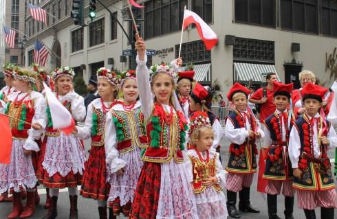 Polish Children Proudly waving flag