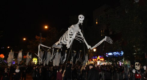 Skeleton Puppet Kicks off the Halloween parade