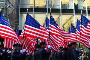 Brooklyn Firefighters Carrying US Flags
