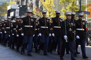 Marine Corp. Marching up 5th Ave.
