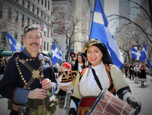 Folkloric Greek marchers