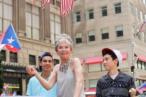 Grand Marshall Rita Moreno and her two grandsons